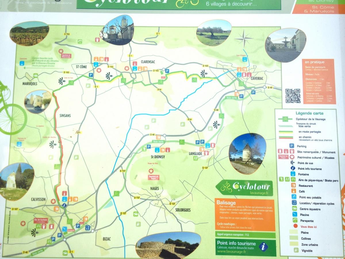 Caveirac-Sommières Greenway Voie Verte de la Vaunage. Map